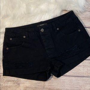 Forever 21 cuffed black denim shorts size …